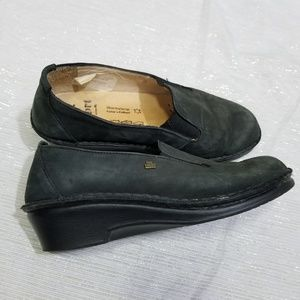 Finn Comfort Black Soft Leather Clogs UK 4 US 6.5